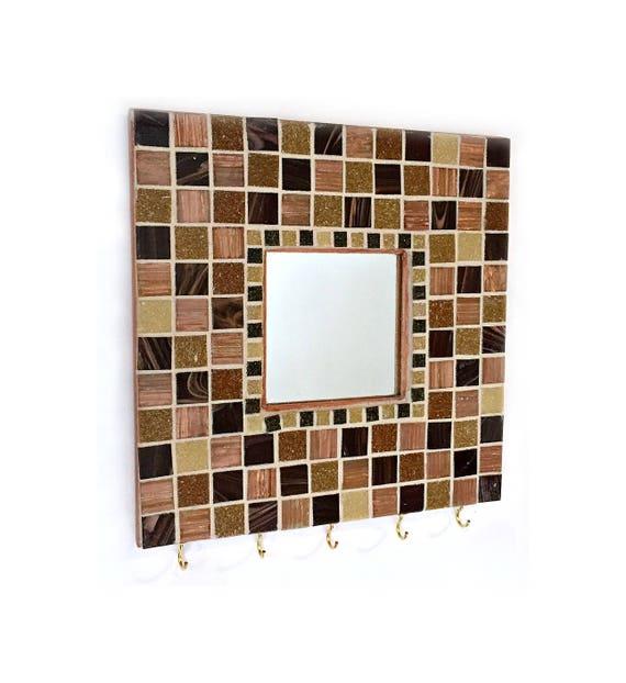 Mosaic Key Rack, Mosaic Mirror, Mosaic Mirror Key Keeper, Mosaic Key Holder, Key Organizer, Key Rack, Tan Brown Black Mosaic Key Rack Mirror