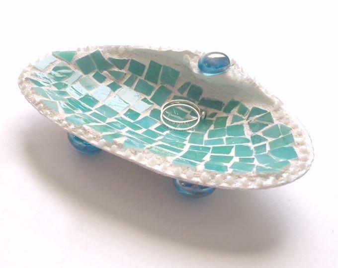 Mosaic Shell Ring Dish, Real Shell Ring Keeper, Beach Theme Ring Bearer Pillow, Mosaic Seashell Ring Catcher, Aqua Mosaic Shell Holder