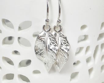 Silver Leaf Earrings, Boho, Fall Jewelry, Sterling Silver Leaves, Dangle Earrings, Gifts for her, Nature jewelry, Trees Earrings