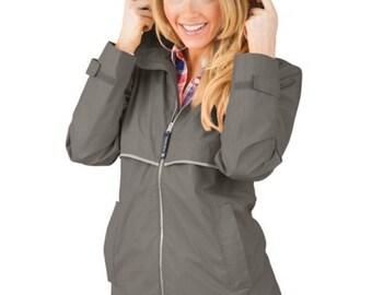 NEW COLOR-GREY Monogram Charles River Women's New Englander Rain Jacket
