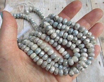 20% OFF SALE Mystic Blue Sapphire Rondelle Beads, 8mm Sparkling Blue Gemstone Africa, 1 Strand