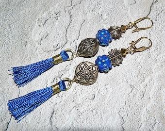 Tassel Earrings, Bright Blue Earrings, Kitschy Summer Earrings, Boho Chic Earrings, Handmade Earrings, Unique Jewelry, One of a Kind, Ladies
