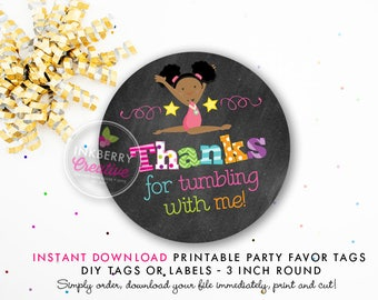 Girls Gymnastics Tumble Birthday Party Favor Tags (Black Hair) - Chalkboard Style - Printable 3 inch Round - Instant Download PDF File