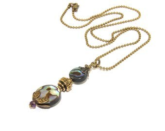 New Zealand Paua Shell Necklace, Delicate Brass Ball Chain