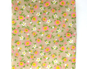 Vintage Cotton Yardage - Mod Floral Print in Hot Pink, Yellow and Spring Green on Tan / 1-1/4 Yards