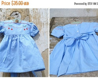 ON SALE Vintage  1950/50s French soft blue textured cotton dress adorned with embroideries figuring cherrys size 2 years
