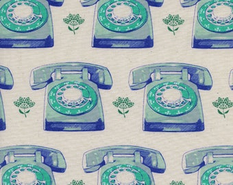 Telephones in Aqua, Trinket Collection,  Melody Miller, Cotton and Steel,  1 yard