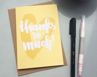 Thank You Card - brush lettering on a bright yellow heart thank you card