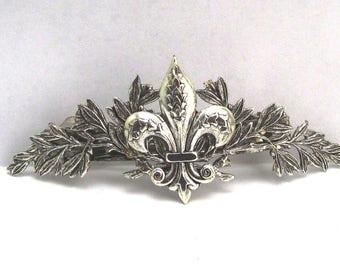 Fleur di Lis Barrette Celtic hair clips silver hair clips Bridal Hair barrette silver barrette MyElegantThings Bridal garland barrette