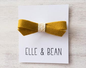 Mustard & Cream Lilly Bow- RTS Felt and Glitter School Girl Bow. Clip or Headband.