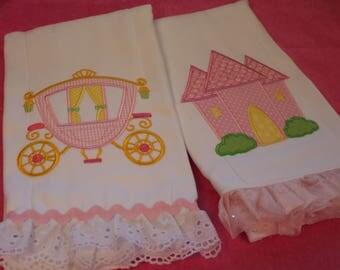 Princess Castle Burp Cloth, Princess Carriage Burp Cloth, Sleeping Owl Burp Cloth, Tulip Owl Burp Cloth, Appliqued for a Girl