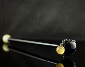 Octopus Glass Sherlock Pipe / Large Sherlock Pipe / High Quality Glass / Long Stem Sherlock / Black & Silver Amethyst / Ready to Ship #505