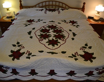 "Amish Celtic Rose Lg Queen/King quilt, 96"" x 112"""