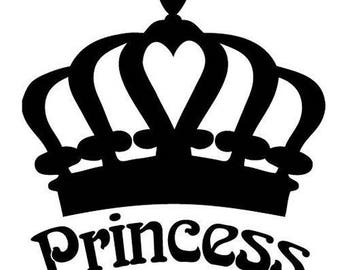 Princess Crown Vinyl Car Decal Bumper Window Sticker Any Color Multiple Sizes Mothers Day Jenuine Crafts
