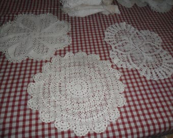 3 Vintage White Hand Crocheted Cotton Doilies