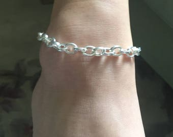 Bold Silver plated Chain Link Ankle bracelet with Angel Wing option