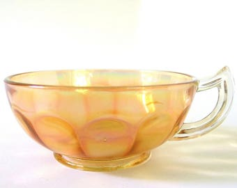 Vintage Peach Carnival Glass Nappy with Handle, Optic Panel Nappy