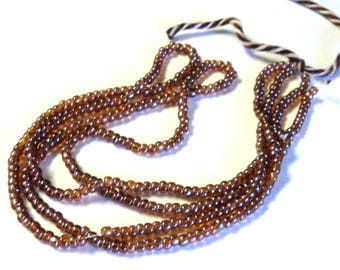 """2 Strands Brown Luster Seed Beads, 14"""" Strands Glass Beads, DIY Jewelry supplies from Takuniquedesigns"""