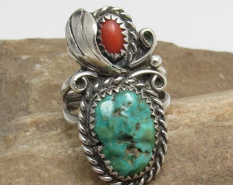 Vintage  Sterling Coral Ring Artisan Signed Navajo Jewelry R8030