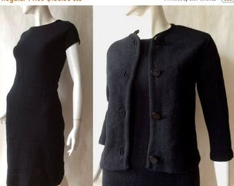 MOVING SALE Late 1960's / early 1960's textured wool knit dress and jacket set in deep rich black, by Verona Knits, small / medium
