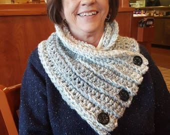 Crocheted button cowl scarf