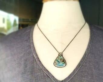 Chrysocolla Pendant, Blue Green Gemstone, Sterling Silver, Artisan Metalwork, Metalsmith