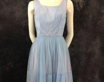 ON SALE Vintage 1960's pastel blue baby blue nylon dress XS Xxs