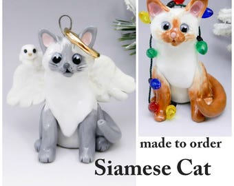 Siamese Cat Christmas Ornament Figurine Made to Order in Porcelain