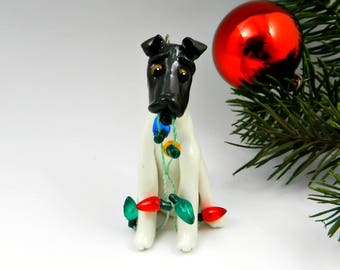 Smooth Fox Terrier Black White Christmas Ornament Figurine Lights Porcelain