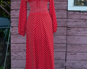 Vintage Gown -Red Polka Dots Smocking