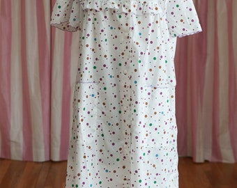 Polka Dot Housecoat - 80s Snap Front Robe House Coat