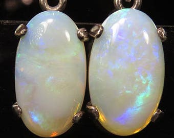 Opals 6.52 ctw / from Australia / .925 Sterling Silver Leverback Earrings /  Fast Free Shipping with gift wrap