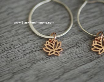 Tiny Renge Hoop Earrings - 18k Rose Gold Plated Sterling Silver Lotus Flower Feng Shui Lian Hua Charms - Insurance Included