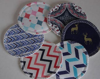 Custom, Organic Cotton Hemp Fleece, cotton print topped, makeup remover pads, 3 inch, face cleansing pads, facial rounds