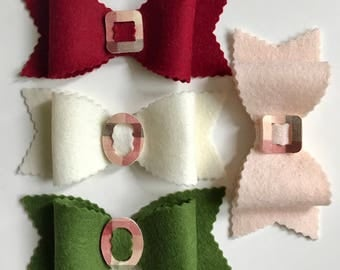 Felt Bows, Christmas Bows, Set of Four, Winter Bow, Large Bows, Scalloped Bows, Hair Bows, Hair Accessories, Hat Band, Home Decor, DIY Pets