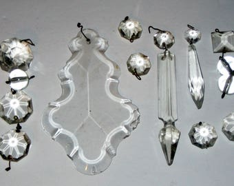 Lot of 17 Chandelier Crystals for Crafting