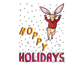 Hoppy Holidays - rabbit, whimsical, pen and ink, digital, funny, humor