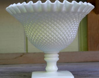 Milk Glass Ruffle Edge Footed Candy Dish