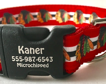 1 Inch Wide Chicago Blackhawks Personalized ID Dog Collar You Pick Size Made in USA 2015 Stanley Cup Winners NHL Fans