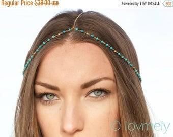 SUMMER SALE HALEY - Turquoise head chain / headpiece / headchain