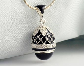 Jewelry Necklace w Onyx, Collectible Gothic Egg Pendant Sterling Silver  Swarovski Crystals Black Enamel Unique Gift for Her Evening Jewelry