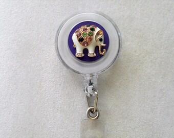 Reel, Retractable Badge Holder. Elephant  Alligator Clip or Slide Clip