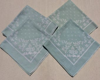 Vintage Damask Green Napkins Set of 4 Webster Hall Fleur de Lis