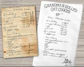 Handwritten recipe tea Towel  / Flour Sack - your favorite recipe in handwriting transferred to a keepsake tea towel great gift  MTT-001