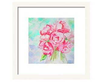 Watercolor Pink Flower Art Print-Pink Flowers Wall Art-Flower Painting-Vase of Flowers Painting