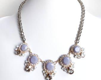 Necklace - Smokey Gray Bib Necklace in Gold - Czech Glass Beads - Beaded Chunky Statement Bib Necklace - Gold Gray Blue