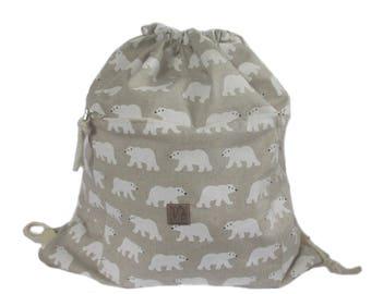 polarbear backpack cotton linen