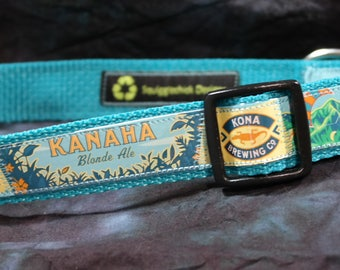 Aloha!! Adjustable Dog Collar from Recycled Kona Brewing Kanaha Blonde Ale Beer Labels