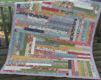 """Large quilt throw blanket """"Mon Ami"""" fabric by Basic Grey French-themed fall colors gray coral green cream bicycle flower Quiltsy Handmade"""