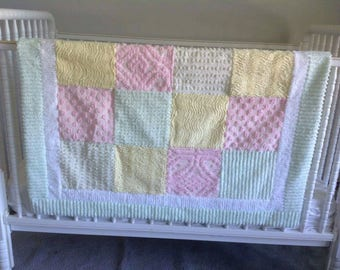 Pastel quilt chenille pink yellow green lap blanket baby girl gift